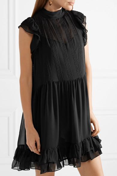Remy Ruffled Embroidered Silk-chiffon Mini Dress - Black Ulla Johnson BPxJAOw5
