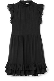 Remy ruffled embroidered silk-chiffon mini dress
