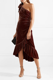 Ulla Johnson Elisa one-shoulder ruffled velvet dress