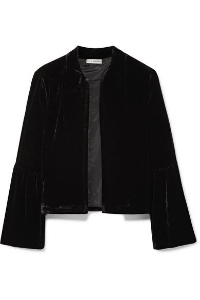 Ulla Johnson - Mara Cropped Velvet Jacket - Black