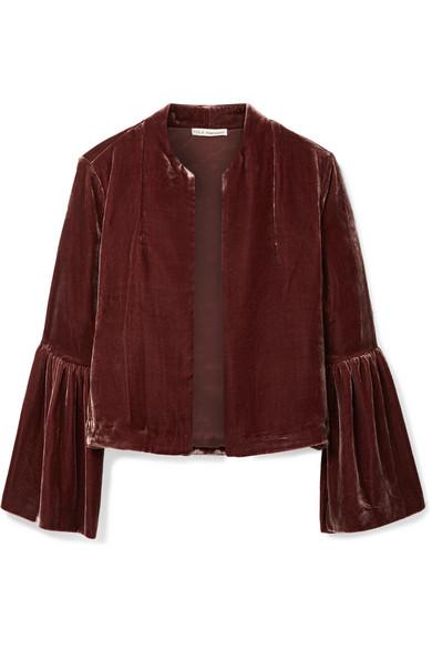 Ulla Johnson - Mara Cropped Velvet Jacket - Chocolate