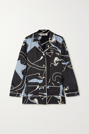 Panther printed silk-twill shirt