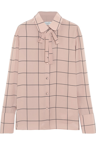 Valentino - Pussy-bow Checked Silk-crepe Shirt - Antique rose