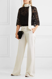 Valentino Cape-effect crepe-trimmed corded lace top