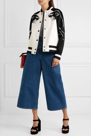 Valentino Appliquéd wool and cashmere-blend bomber jacket