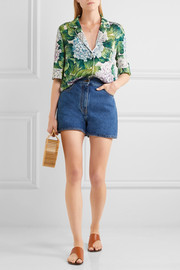 Valentino Scalloped denim shorts