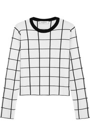 Valentino Cropped checked wool sweater