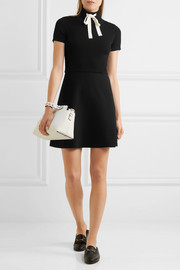 Valentino Ribbed stretch-knit and stretch-cady mini dress