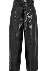 Valentino Glossed textured-leather culottes