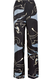 Panther printed silk-twill wide-leg pants