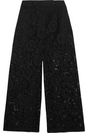 Valentino Cropped corded guipure lace wide-leg pants