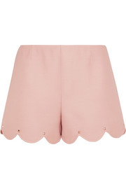 Valentino Studded wool and silk-blend crepe shorts