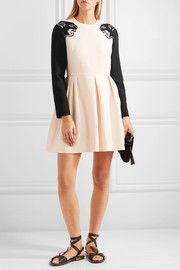 Valentino Panther beaded wool and silk-blend crepe mini dress