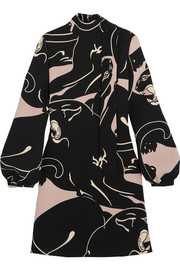 Valentino Panther printed silk-cady mini dress