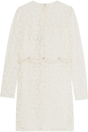 Valentino Crepe-trimmed embellished corded lace mini dress