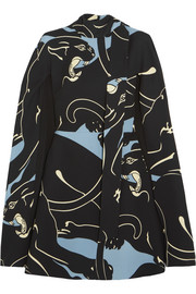 Valentino Panther cape-effect printed silk-cady mini dress