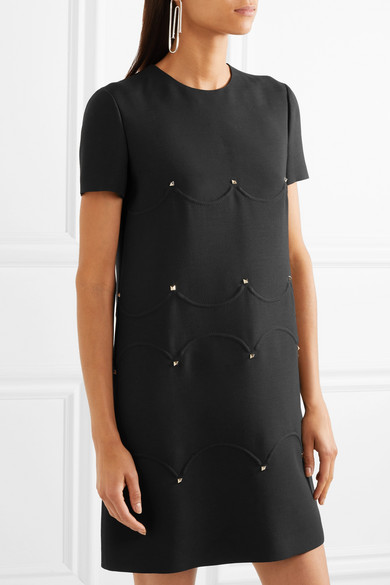 Valentino Minikleid aus Crêpe aus einer Woll-Seidenmischung mit Nieten