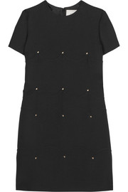 Valentino Studded wool and silk-blend crepe mini dress