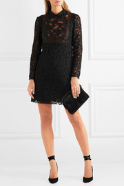 Valentino Corded lace and beaded tulle mini dress