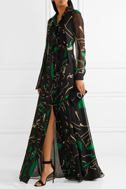 Panther pussy-bow lace-trimmed printed silk-chiffon gown