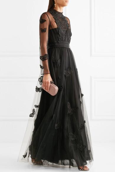 Valentino Robe aus Tüll mit Kunstperlenverzierung