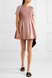 Valentino Pleated wool and silk-blend playsuit
