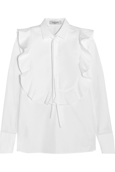 Valentino - Pussy-bow Jacquard-paneled Cotton-poplin Shirt - White