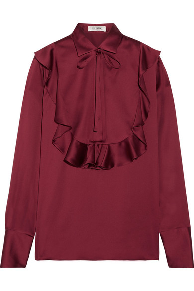 Valentino - Pussy-bow Ruffled Silk-satin Blouse - Burgundy