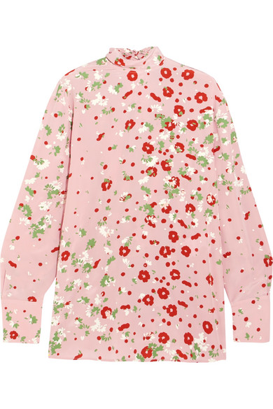 Valentino - Open-back Floral-print Silk Crepe De Chine Blouse - Pink
