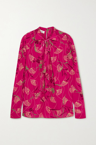 Valentino - Pussy-bow Floral-print Silk Crepe De Chine Blouse - Fuchsia