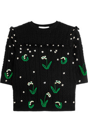 Valentino Ruffled embroidered cable-knit wool sweater