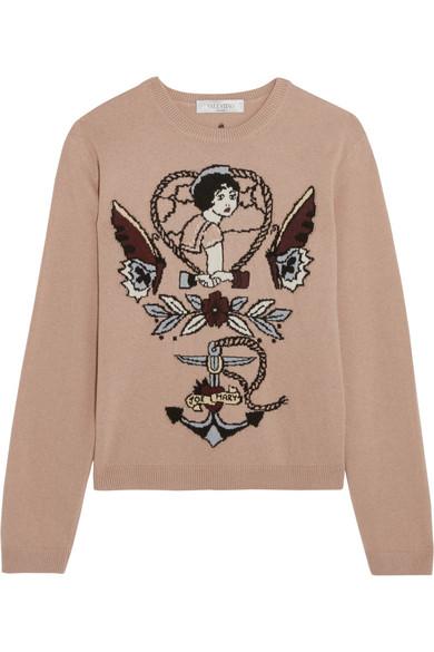 Valentino - Intarsia Wool And Cashmere-blend Sweater - Blush