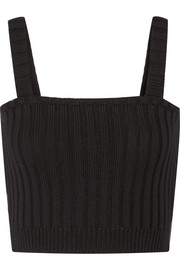 Valentino Cropped ribbed-wool top