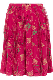 Valentino Pleated floral-print silk-chiffon skirt