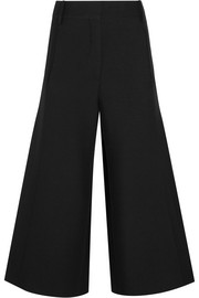 Wool and silk-blend crepe culottes