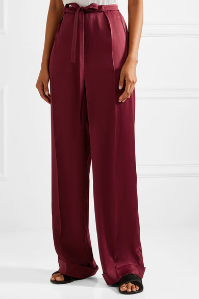 Valentino. Pleated silk-satin wide-leg pants