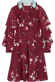 Ruffled floral-print silk crepe de chine dress