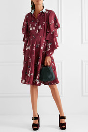 Valentino Ruffled floral-print silk crepe de chine dress
