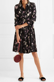 Valentino Embellished floral-print silk crepe de chine dress