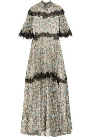 Valentino Open-back lace-trimmed printed silk-chiffon gown