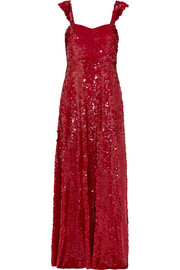 Valentino Paillette-embellished silk-georgette gown