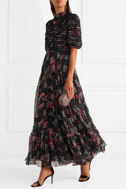 Valentino Embellished lace-trimmed floral-print silk crepe de chine gown