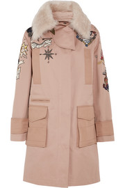 Valentino Shearling-trimmed beaded cotton-twill parka