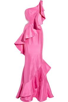 Rachel Gilbert|Ivana ruffled raw-silk gown|NET-A-PORTER.COM from net-a-porter.com