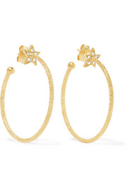 Carolina Bucci Shooting Star 18-karat gold diamond hoop earrings
