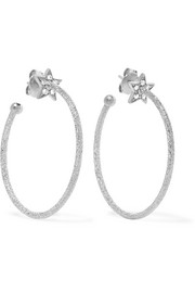 Carolina Bucci Shooting Star 18-karat white gold diamond hoop earrings