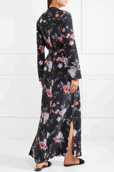 Britten Floral-print Silk Crepe De Chine Maxi Dress - Black Equipment tJp9iAGk