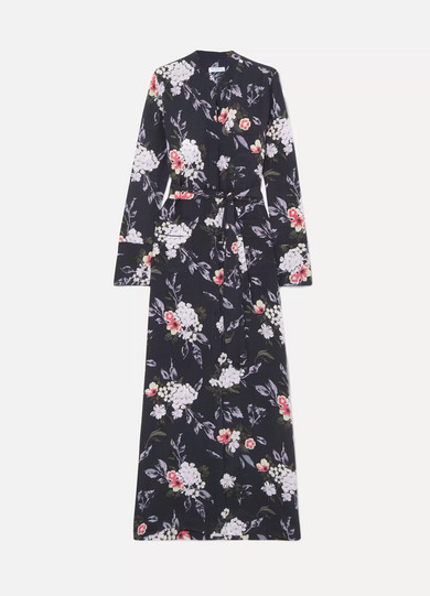 Equipment Woman Britten Floral-Print Washed-Silk Maxi Dress Charcoal In Black