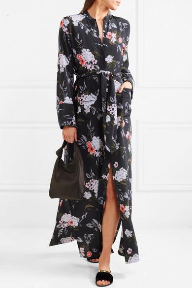 Britten Floral-print Silk Crepe De Chine Maxi Dress - Black Equipment In China Top Quality Online WGm0X