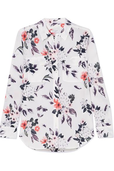 Equipment Slim Signature Hemd aus Crêpe de Chine aus Seide mit floralem Print Verkauf Wählen Eine Beste Genießen Sie Online yK5sZwauY1